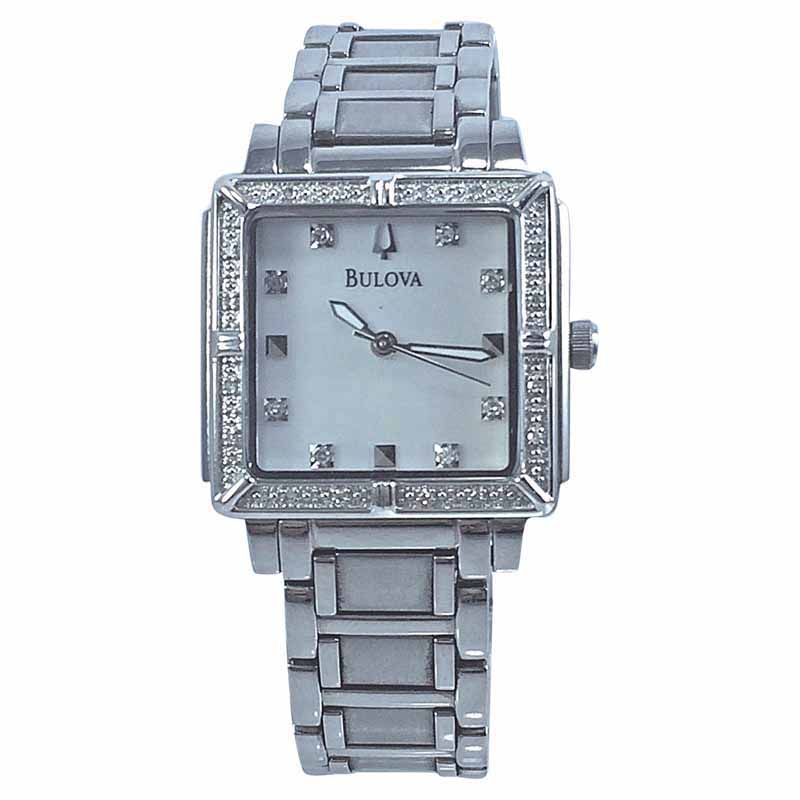 "Image of ""Bulova 96R107 Stainless Steel Mother Of Pearl Dial 26mm Womens Watch"""