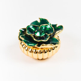 Kenneth Jay Lane Gold Tone Metal Emerald Green Flower Brooch Pin & Holder Set