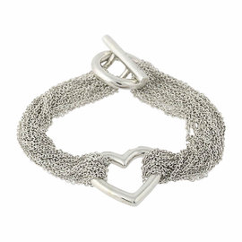 Tiffany & Co. 925 Sterling Silver Heart Mesh Bracelet