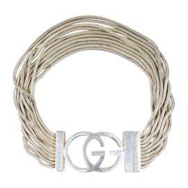 Gucci 925 Sterling Silver 'GG' Logo Multi Strand Chain Link Bracelet