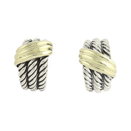 David Yurman 925 Sterling Silver & 14K Yellow Gold Cable Shrimp Hoop Earrings