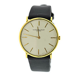 Audemars Piguet 18K Yellow Gold & Leather Manual Wind Vintage 31.5mm Mens Watch