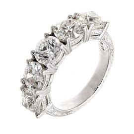 Peter Suchy 950 Platinum 5 Diamond Old European Cut Engraved Ring Size 5.75