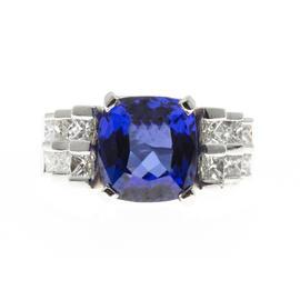 Peter Suchy 950 Platinum Blue Tanzanite Princess Diamond Ring Size 8.5