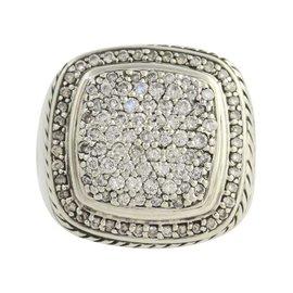 David Yurman Albion 925 Sterling Silver & 1.82ct Diamond Cocktail Ring Size 6