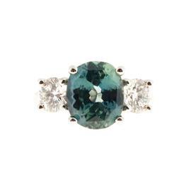 Peter Suchy 950 Platinum Blue Green Sapphire Diamond Engagement Ring Size 6.5