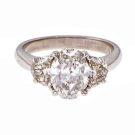 Peter Suchy 950 Platinum Oval Half Moon Diamond Engagement Ring Size 6.75