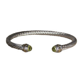 David Yurman 14K Gold & 925 Sterling Silver with Citrine Cable Cuff Bracelet