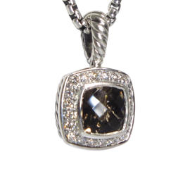 David Yurman Petite Albion 925 Sterling Silver with Smoky Quartz and 0.17ct Diamond Necklace