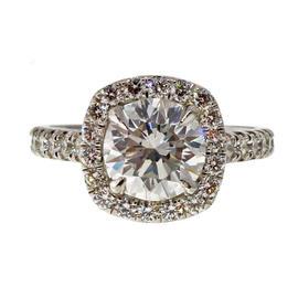 Peter Suchy Platinum & 1.73ct. Diamond Halo Ring Size 6.5
