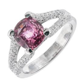 Peter Suchy Padparadscha Sapphire Engagement Ring Size 6.75