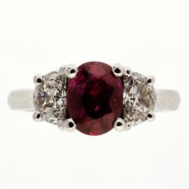 Peter Suchy Platinum Oval Ruby Half Moon Diamond Ring Size 6.5
