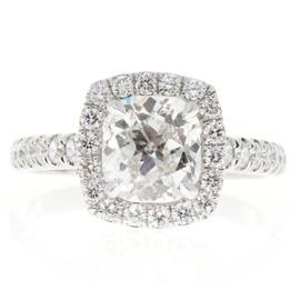 Peter Suchy Platinum 1.81ct Diamond Halo Cushion Ring