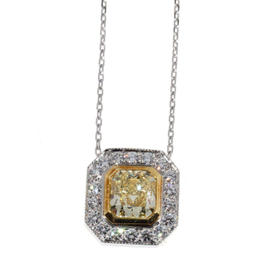 Peter Suchy Platinum 1.50ct. Diamond Canary Yellow Gold Pendant Necklace