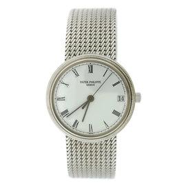 Patek Philippe Calatrava Hobnail 3802/205 18K White Gold Automatic 33mm Womens Watch