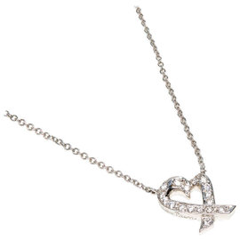 Tiffany & Co. 950 Platinum Paloma Picasso Round Diamond Heart Pendant