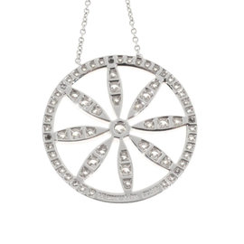 Tiffany & Co. Platinum Circle 0.82ct. Diamond Flower Pendant Necklace