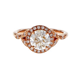 Peter Suchy 14K Pink Gold with Diamond Halo Engagement Ring Size 6.5