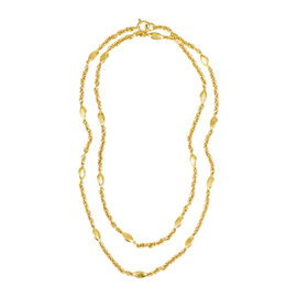 Chanel Spring Gold Tone Metal 'CC' Fish Station Necklace