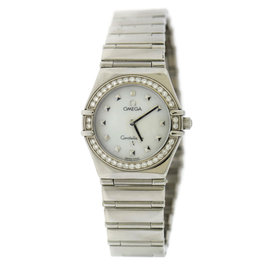 Omega Constellation Stainless Steel wDiamond Mother Of Pearl Dial Quartz 26mm Womens Watch