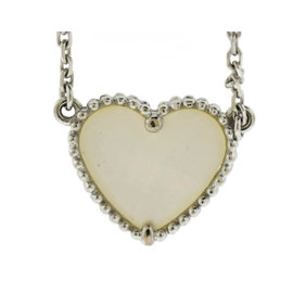 Van Cleef & Arpels 18K White Gold Sweet Alhambra Mother Of Pearl Heart Pendant Necklace
