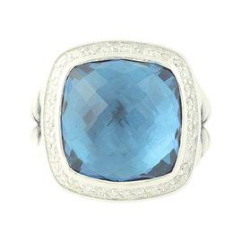 David Yurman Albion 925 Sterling Silver 0.30ctw. Diamond Blue Topaz Ring Size 7