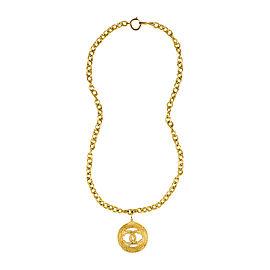 Chanel Gold Tone Metal Woven 'CC' Medallion Pendant Necklace