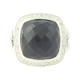 David Yurman 925 Sterling Silver 0.30ct. Diamond Halo Onyx Albion Ring Size 7.0