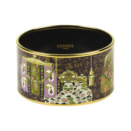 Hermes Brown Gold Plated & Enamel Handbag Print Extra Wide Bangle Bracelet