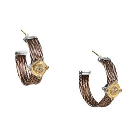Charriol Bronze 18K Gold & Stainless Steel with Diamond Earrings