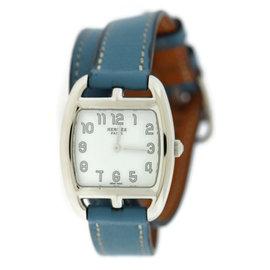 Hermes Cape Cod Tonneau CT1.210 Stainless Steel & Leather Quartz 27mm Womens Watch