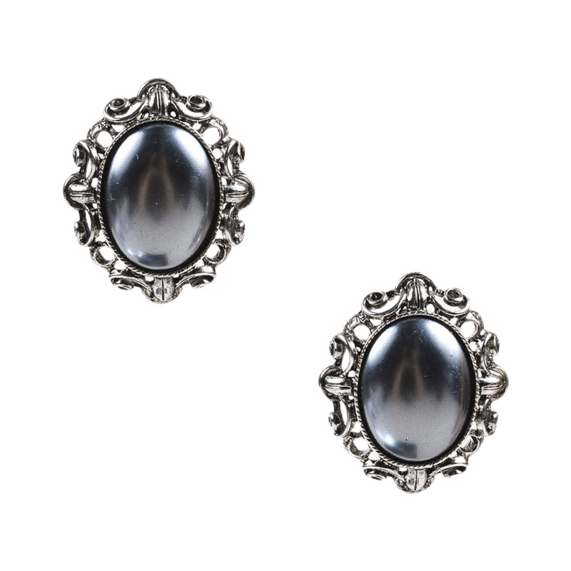 "Image of ""Oscar De La Renta Silver Tone & Faux Pearl Oval Clip On Earrings"""