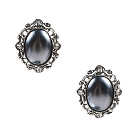 Oscar De La Renta Silver Tone & Faux Pearl Oval Clip On Earrings