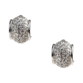 Swarovski Silver Tone Pave Crystal Clip On Huggie Earrings