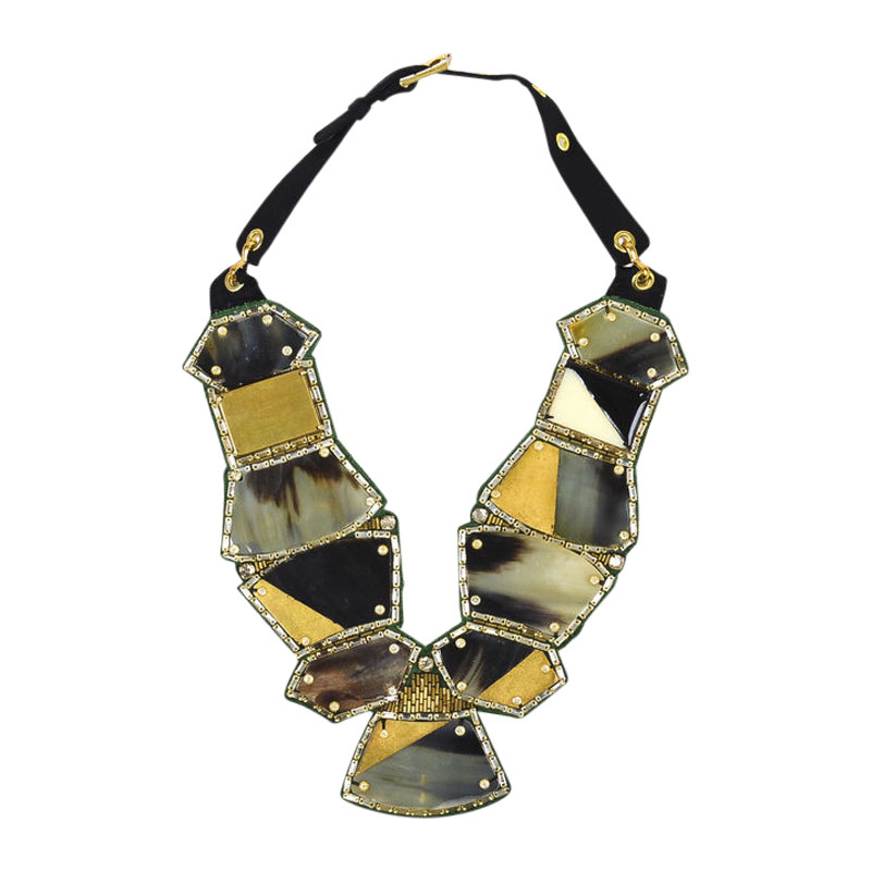 "Image of ""Oscar de la Renta Gold Tone Green Foiled Horn Crystal Bib Statement"""