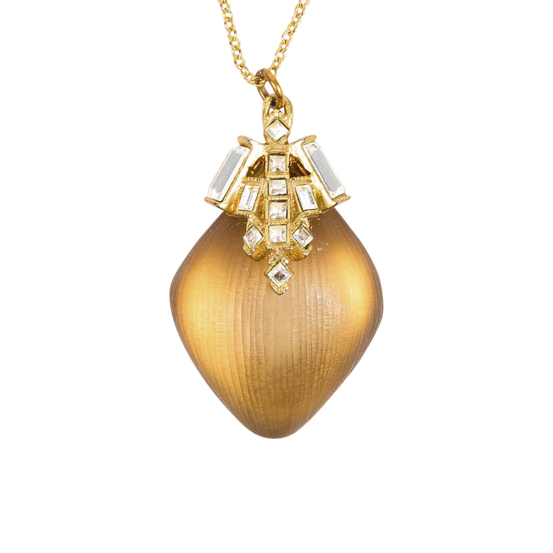 "Image of ""Alexis Bittar Gold Tone & Taupe Swarovski Crystal & Lucite Pendant"""