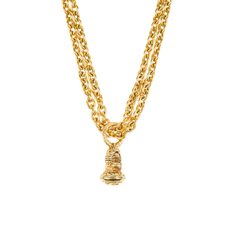 "Image of ""Chanel Gold Tone Metal Chain Link Double Strand Pendant Necklace"""