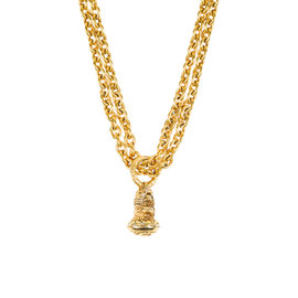 Chanel Gold Tone Metal Chain Link Double Strand Pendant Necklace