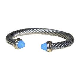 David Yurman 14K Yellow Gold & 925 Sterling Silver Turquoise Cuff Bracelet