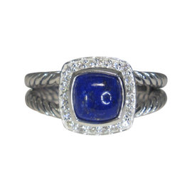 David Yurman Petite Albion Sterling Silver with Lapis and .17ct Diamond Ring Size 6