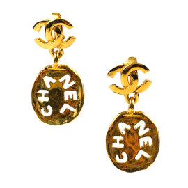 Chanel Hammered 'CC' Logo Gold Tone Metal Earrings