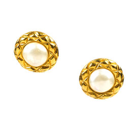 Chanel Gold Tone Metal with Faux Pearl Earrings