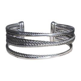 David Yurman 925 Sterling Silver with Diamond Crossover Cuff Bracelet