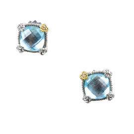 Judith Ripka Sterling Silver / 18K Yellow Gold with Diamond & Blue Crystal Earrings
