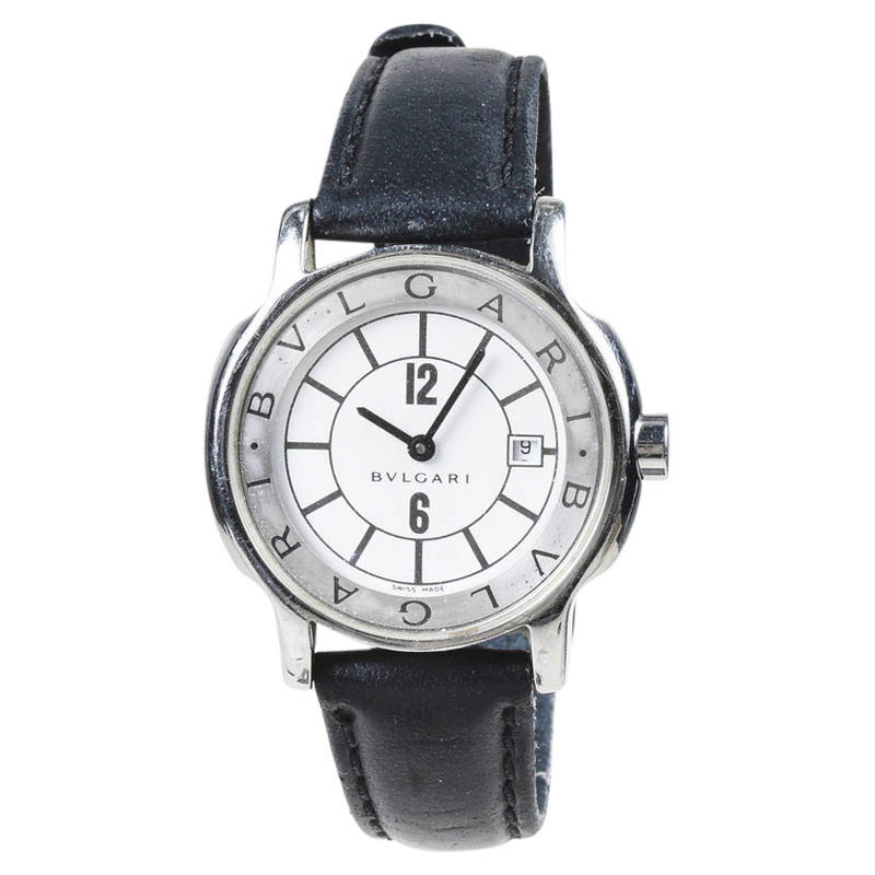 """Image of """"Bulgari Solotempo Stainless Steel with Black Leather 25mm Womens Watch"""""""