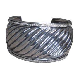 David Yurman 925 Sterling Silver & Diamond Cable Cuff Bracelet