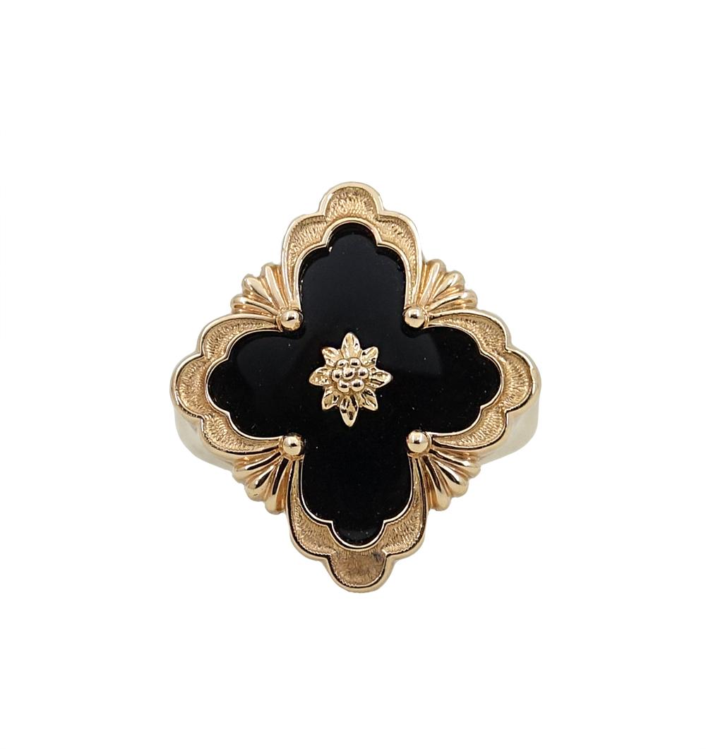 """Image of """"Buccellati 18K Rose Gold 4.5ct Black Onyx Opera Ring Size 6"""""""