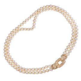 Cartier 18K Yellow Gold Diamond Double Strand Pearl Necklace