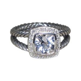 David Yurman Petite Albion Sterling Silver White Topaz 0.17ct. Diamond Ring Size 6