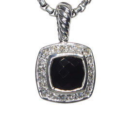 David Yurman Petite Albion 925 Sterling Silver with Onyx and 0.17ct Diamond Necklace